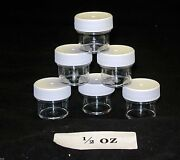 1/4oz To 3oz Clear Round Wide-mouth Plastic Jars W/ White Cap U-pick Size And Qty.