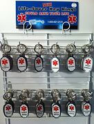 New 72 Piece Nickel Plated Life-saver Medical Alert Key Chains With Display Rack