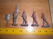 World War I American Toy Soldiers Flag Lot Of 5 Composition Germany
