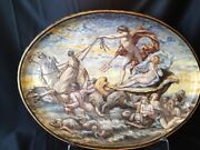 French Oval Concave Wall Charger Painted By Fourteau Mid 19th Century