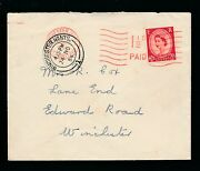 Gb Qe2 1954 Wilding Cancelled By Pre Paid Meter Franking Red On Red Winchester