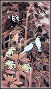 Original Balinese Painting Starlings Amongst The Bamboo 55 H X 31.25 W