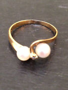 Women's 14 Kt Yellow Gold Genuine Cultured Pearl And Diamond Ring Great Buy