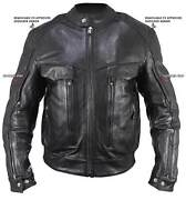 New Black Bandit Buffalo Leather Cruiser Motorcycle Jacket Armor 3xl Closeout