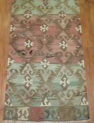 Vintage Lovely Turkish Anatolian Oushak Ushak Kilim Rug Runner Size 2and0392and039and039x12and0393and039and039