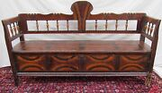 Early 19th C Antique Grain Painted Pine Hall Settle Bench Folk Art Paint