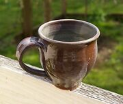 Spun Dipped Pottery Art Handmade Brown Coffee Mug Cup Signed by Artist M or W