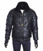 Ace Mens Puffer Style Leather Jacket Warm Real Soft Lambskin Fur Collared Jacket