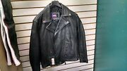 Black Leather Motorcycle Jacket 2xl -insulated Liner Sewed In