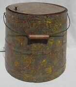 Antique 19th Century Poly Chrome Sponge Paint Decorated Wooden Covered Bucket