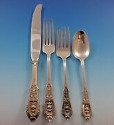 Rose Point By Wallace Sterling Silver Flatware Set Service 24 Pieces