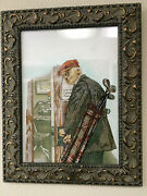 Collectible Gem Artwork Wall Hanging With Real Stones And Carved Wood Frame