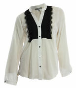 Ny Collection Medium White Long Sleeve Lace Bib Front Button Down Shirt Nwt F/s