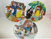 3 Disney Collector Plates Pinocchio And Snow White Used