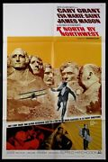 North By Northwest Cary Grant Hitchcock R-1966 1-sheet