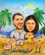 2 Persons Custom Caricature From Photo, Artist, Figures And Portraits, Pastel,