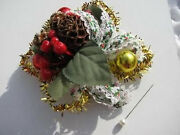 Vtg.christmas Pine Cones Holly Berry Lace Ribbon Red Balls Gold Tinsel Corsage