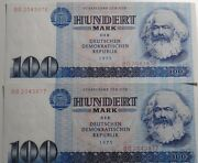 Germany 2x100 Mark Ddr Banknotes 1975 Unc Condition In Consecutive Order Rare