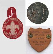 Ten Mile River Scout Camps Ny Lot Of 3 Buckle + Slide + Pocket Patch Bsa 0139