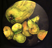 Still Life Painting Tempera / Oil Pastel On A Round Pine Wood Board, 19x19.