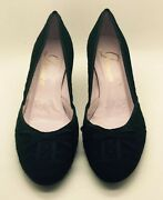 Delman Black Suede Leather Lace Bow Pump Low Heels Woman's 9m Italy Worn Once