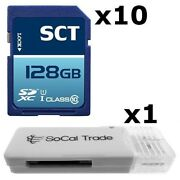 10 Pack - Lot Of 10 Sct 128gb Sd Xc Class 10 Uhs-1 Sdxc Flash Memory Card