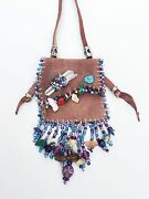 Handmade In New Mexico,collectible, Leather, Mini Medicine Bag, Beaded Fringe
