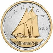 Canada 2015 Big Coins Series Bluenose 10 Cents 5 Oz Silver Proof Gold Plated Ogp