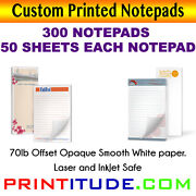 Custom Print Notepad 8.5x5.5 300 Pads-50 Sheets 70lb Opaque Print Personalized