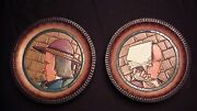 A Pair Of French Quimper Wooden Plates By Paul Fouillen