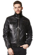 Menand039s Leather Jacket Black Wash Fitted Cool Funky Short Bomber Real Napa 9265