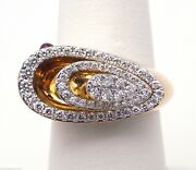 Attractive Ladies 18k Yellow Gold Pave Diamonds And Ruby Pear Shaped Ring