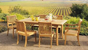 Giva A-grade Teak 7pc Dining 71 Rectangle Table 6 Armless Chair Set Outdoor New