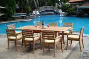 Travota A-grade Teak 9pc Dining 94 Rectangle Table 8 Stacking Arm Chair Set New