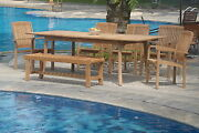 Wave A-grade Teak 7pc Dining 94 Rectangle Tablebenchstacking Arm Chair Set