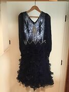 Vintage Ballroom Dancing Gown Navy Blue Size 14