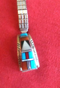 Zuni Inlay Multi Stone / Shell Sterling Silver Ladies Watchband Collectible Usa