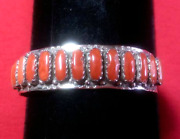 Zuni 13 Petit Point Red Mediterranean Coral Silver Bracelet Collectible Signed