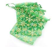 Christmas Snowflake Green And Gold Organza Gift Bags / Pouches Size 12x16cm Large