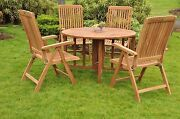 Marl 5-pc Outdoor Teak Dining 48andrdquo Butterfly Round Table 4 Reclining Arm Chairs