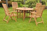 Ash 5-pc Outdoor Teak Dining 48andrdquo Butterfly Round Table 4 Reclining Arm Chairs
