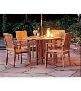 Leve 5-pc Outdoor Teak Dining 48andrdquo Butterfly Round Table 4 Stacking Arm Chairs