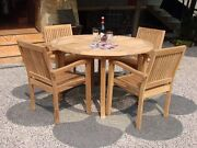 """Leve 5-pc Outdoor Teak Dining Patio Set 48"""" Round Table, 4 Stacking Arm Chairs"""