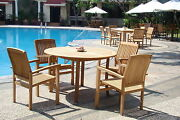 """Wave 5-pc Outdoor Teak Dining Patio Set 48"""" Round Table, 4 Stacking Arm Chairs"""