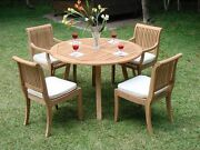 Giva 5-pc Outdoor Teak Dining Patio Set 48andrdquo Round Table 4 Arm/armless Chairs