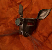 Leather Art Steampunk Bunny Mask Bronze With Goggle/lens And Horse Hair Whiskers