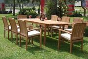Wave 9-pc Outdoor Teak Dining Patio 83 Rectangle Table 8 Stacking Arm Chairs