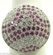 Fashionable 18k W/g Pink Sapphire And Diamond Circle Dome Ladies Ring