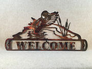 Duck Landing On Pond Welcome Sign Metal Wall Art