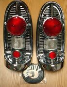 1956 Chevy Tail Lamp Tail Light Chrome Assemblies  New Pair Usa Made